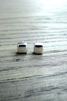 Sterling Silver tiny cushion earrings, square silver stud earring, small stud earrings,  geometric earrings, 925 Silver, simple silver studs