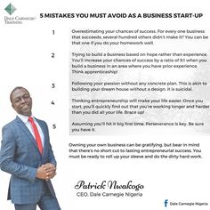 #Repost @dalecarnegienigeria ・・・ His first two businesses failed. Patrick Nwakogo; CEO, Dale Carnegie Nigeria for the first time shares the lessons he learned and why you should avoid the 5 pitfalls that plague most business startups.  #Sales #business #marketing #money #selling #motivation #goals #inspiration #amazing #cool #entrepreneur #entrepreneurship #startup #photooftheday #smallbusiness #tweegram #quoteoftheday #TheCzarConomist #TakeTheLeadInStyle #consulting #n