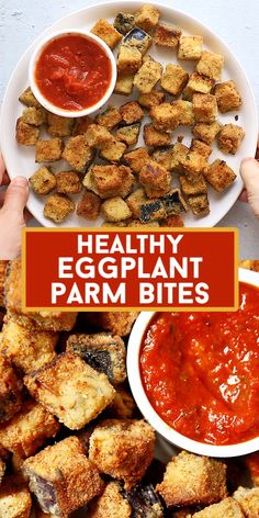 Thanks CEOOFWAIFUS for this post.Looking for an easy and delicious snack idea? These healthy Eggplant Parm Bites are crunchy and crispy and seasoned just right! Like a little bite of eggplant Parm, but made healthy,# Bites Veggie Snacks, Veggie Dishes, Yummy Snacks, Veggie Recipes, Vegetarian Recipes, Cooking Recipes, Healthy Recipes, Healthy Snacks Savory, Easy Healthy Appetizers