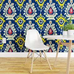 Bright Ikat Wallpaper - Emerald Ikat In Navies by domesticate - Tribal Inspired Global Boho Wallpaper Double Roll by Spoonflower Peelable Wallpaper, Bright Walls, Round Tablecloth, Mold And Mildew, Surface Design, Bold Colors, Ikat, Color Splash, Spoonflower