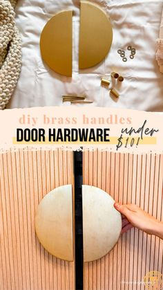 make these modern diy door handles for under $10 | diy gold hardware that looks like metal made from wood | Never Skip Brunch with Cara Newhart Home Decor Hacks, Diy Home Decor Projects, Decor Ideas, Clever Diy, Easy Diy, Gold Door Handles, Easy Hacks, Gold Diy, Diy Door