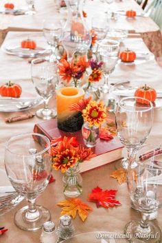 thanksgiving table setting - orange flower tablescape