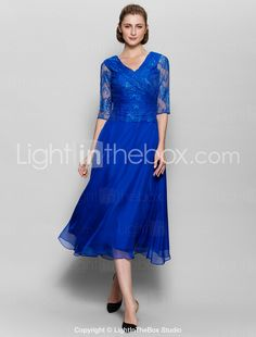 942be16fd04640   109.99  A-Line V Neck Tea Length Chiffon   Lace Mother of the Bride Dress  with Lace   Criss Cross   Ruched by LAN TING BRIDE®   See Through