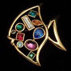 Fish Pin Vintage Open Design Bezel Set Multi Colors Shapes Stones   eBay