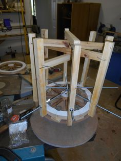 Jig and clamps to hold the bits in position while the glue dried.