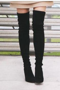 """Black thigh high boots  - I wish my legs were long enough to pull this look off.  Me  5""""1'.  :("""