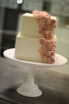Two Tier Simple and elegant wedding cake with rosebuds