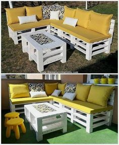 Tempting DIY Ideas with Recycled Wooden Pallets DIY Pallet Projects & Creations.Tempting DIY Ideas with Recycled Wooden PalletsUsing the old shipping pallets in your home decoration do mak New Pallet Ideas, Diy Pallet Projects, Wood Pallet Couch, Wooden Pallets, 1001 Pallets, Recycled Pallets, Pallet Benches, Pallet Tables, Pallet Bar