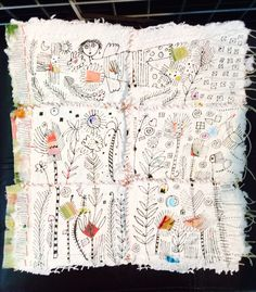 Handmade paper, sewing and ink.