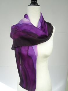Hand painted purple ombre silk scarf purple and pink silk Purple Ombre, Purple Scarves, Silk Scarves, Painted Silk, Hand Painted, Powder Pink, Silk Painting, Pink Silk, Blue Bedrooms