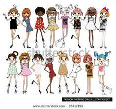 Conjunto de ilustrações de garotas fashion
