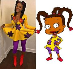 18 Halloween Costumes Ideas for Black Women With Natural Hai Rugrats Costume, Cartoon Halloween Costumes, Black Girl Halloween Costume, Diy Halloween Costumes For Women, Halloween Outfits, Halloween Ideas, Diy Costumes, Costumes For Black Women, Zombie Costumes