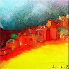 """""""Red Village I""""Prudencio Hernandez - Oleo s/tela - 30 x 30 cm.- 2011 -"""