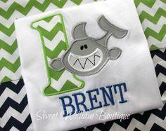 Baby boys first birthday shirt Shark 1st by SweetWilliamBaby www.sweetwilliamboutique.com
