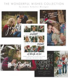 Wonderful Wishes Christmas Card Templates by Jamie Schultz Designs