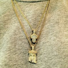 Micro-Jesus Piece with 18k Gold Cuban Link Chain                              …