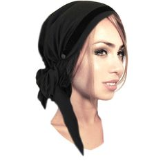 Black Tichel, Head Scarf, Fancy Occassions, Hair Snood, Chemo Hat,... ($35) ❤ liked on Polyvore featuring accessories and pre tied bandana