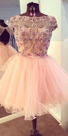 Short Tulle Homecoming Dress with Appliques, Crystals, Beads