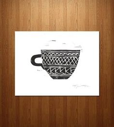 Geometric Coffee Cup Linocut Art Print  This site has awesome prints! Love them all!