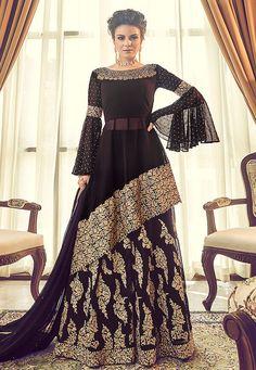 Party wear dresses - Buy Dark Purple Silk Lehenga with Silk Choli Online – Party wear dresses Designer Party Wear Dresses, Indian Designer Outfits, Indian Outfits, Eid Outfits, Fashion Designer, Girly Outfits, Indian Gowns Dresses, Pakistani Dresses, Bridal Dresses