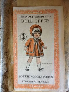 Doll coupon that came in bags of flour from Voigt Milling Co. - c. 1910