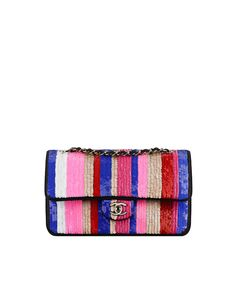 Classic flap bag, embroidered sequins-blue, white, pink & gold - CHANEL