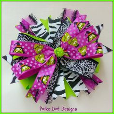 Frankenstein Boutique Style Halloween Hair Bow- Free Domestic S