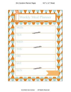 Printable planner-weekly Meal Planner-Erin Condren planner-planner insert-life planner-cute planners- planners-INSTANT DOWNLOAD