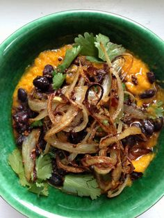 nigel slater's carrot mash with black beans and onions