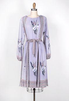 vintage 1970s lavender floral peasant dress
