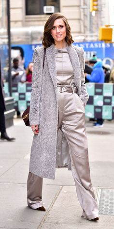 00374b98090 Allison William played with textures mixing a silky silver pants look with  a gray wool coat