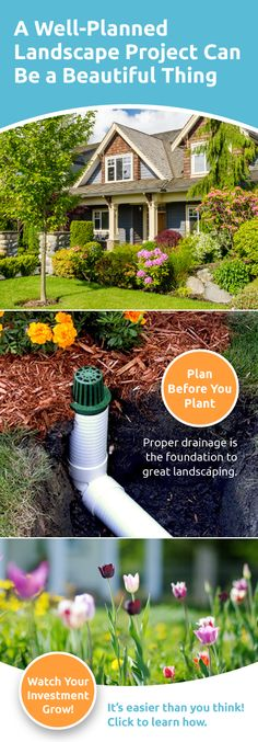 Make less mud. Protect your landscaping investment with these easy tips. Yard Drainage, Drainage Ideas, Yard Design, Lawn Care, Front Yard Landscaping, Outdoor Projects, Lawn And Garden, Outdoor Gardens, Landscape Design