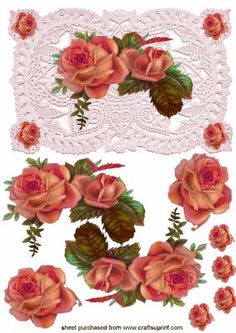 Elegant Floral Rose In Shades Of Red On Lace Background Quick Card on Craftsuprint - Add To Basket!