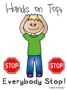 Hands on Top Attention Getter by Stars and Wishes Classroom Charts, Classroom Rules, Classroom Behavior, Special Education Classroom, School Classroom, Classroom Organization, Classroom Management, Preschool First Day, Preschool Songs