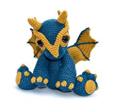Clancy the dragon amigurumi crochet pattern by Patchwork Moose (Kate E Hancock)