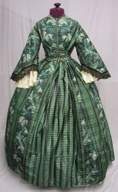"""1860's Exotic Fern Plaid Green Black Dress 