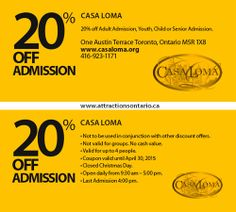 ATTRACTIONS ONTARIO - 20% Off Casa Loma. Steve Pacheco Real Estate. More coupons: bit.ly/1hupagH Ontario Attractions, Printable Coupons, Toronto, Real Estate, People, Real Estates, People Illustration, Folk