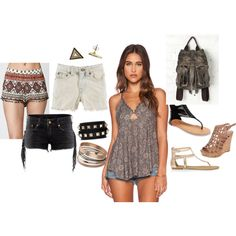 Summer Day Downtown 2015 Afternoon, going out, so cute, outfit, shirt, shorts, tank, love it, fashion, beauty, summertime, daytime, every day, wear, sandals, bangles, July 4th, weekend, date, beautiful, cut offs, floral, backpack, Free People
