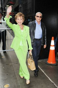 "Judge Judy wears a pantsuit designed by Beverly Hills Fashion designer Susanna Beverly Hills. In this photo, Judge Judy arrives at ""Good Morning America"" in New York City wearing a haute couture bright lime green pants suit designed by Susanna Beverly Hills. www.susannabh.com Judge Judy Sheindlin, Judith Sheindlin, Lime Green Pants, Here Comes The Judge, Good Morning America, Pants Outfit, Love Her, Celebs, Beverly Hills"