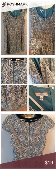 """Teal Lace Ivy & Blu Dress Like new. Teal lace Ivy & Blu dress. Size: 14. Approx. 20.5"""" armpit to armpit. Approx. 34"""" long. 40% Cotton/35% Nylon/25% Polyester. Fully lined. The tag refers to removing a belt but there isn't one. A teal satin ribbon would make it pop. No tears, rips, or stains. Thanks for looking! Ivy & Blu Dresses Midi"""
