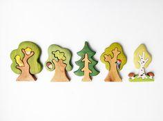 Tree set 5 pcs Woodland set puzzle Nature par WoodenCaterpillar
