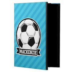 Soccer Ball; Sky Blue Stripes Case For iPad Air