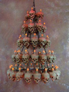 Could be made with Dollar Tree skulls and tee lights