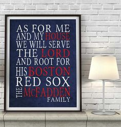 """Boston Red Sox baseball Personalized Art Print- """"As for Me"""" Parody-Unframed Print"""