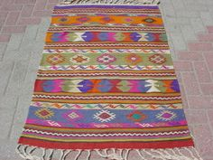 VINTAGE Turkish Kilim Area Rug Carpet Handwoven Kilim by sofART