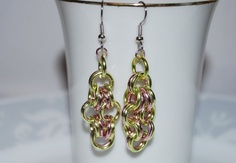 Chainmaille Earrings Two Color Earrings Pink