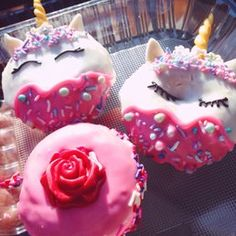 Photo of Spudnuts Donuts - Canoga Park, CA, United States. Special Valentine Unicorn and Rose donuts !