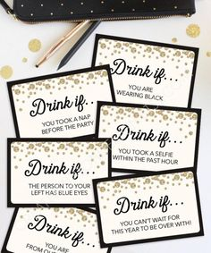 New Years Eve Game - Drink If Game - Printable New Year's Eve Game - New Years Eve Games - New Year's Eve Party Ideas - Drinking Game - Engere Auswahl - Christmas New Years Eve Party Ideas Food, New Years Eve Games, New Years Eve Food, New Years Party, Ideas Party, Party Drinks, Fun Drinks, Party Party, House Party