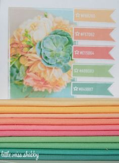 Bella Solids  From Top: Butterscotch 9900-36 Goldenrod 9900-81 Peach 9900-78 Coral 9900-147 Tea Rose 9900-89 Rose 9900-62 Green Apple 9900-74 Betty's Green 9900-121 Betty's Teal 9900-126 Pond 9900-109