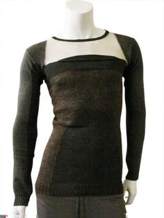 Round-necked pullover with pocket on the chest and inlays in different colors. $159.00